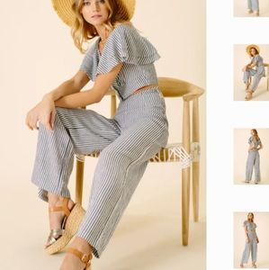 Ellor Striped Madelyn Nautical Pant w/ Buttons